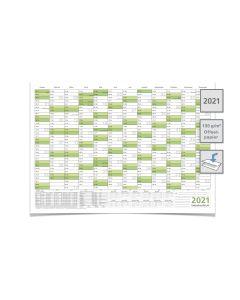 WANDKALENDER/JAHRESPLANER 2021 MIT FERIEN A2 59,4 X 42,0 cm grün gefaltet