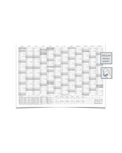 Wandkalender/Jahreskalender 2021, DIN A2 59,4 x 42,0 cm mit Ferien gerollt grau premium