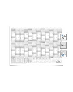 Mega JAHRESPLANER -- 2021 --  DIN B0 grau 140,0 X 100,0 cm 250g/m2 feucht abwischbar