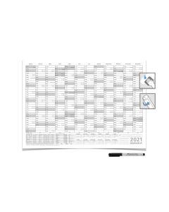 Wandkalender/Jahresplaner -- 2021 -- mit Ferien DIN B1 grau 100 x 70 cm 250g/m² abwischbar gerollt mit Faber-Castel Marker