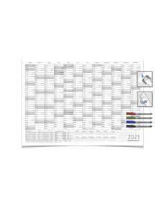 Wandkalender/Jahresplaner -- 2021 -- mit Ferien DIN B1 grau 100 x 70 cm 250g/m² abwischbar gerollt mit 4 Faber-Castel Markern