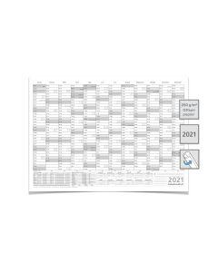 Mega XXL WANDKALENDER/JAHRESKALENDER 2021, DIN B0 140,0 X 100,0 CM  gerollt grau Premiumqualität.