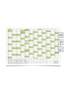 Mega JAHRESPLANER -- 2021 --  DIN B0 grün 140,0 X 100,0 cm 250g/m2 feucht abwischbar