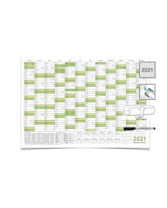 Wandkalender/Jahreskalender 2021, DIN A2 59,4 x 42,0 cm mit Ferienangaben abwischbar gerollt grün mit 1 Faber-Castell Marker
