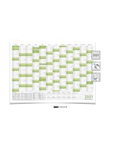 Wandkalender/Jahresplaner -- 2021 -- mit Ferien DIN B1 grün 100 x 70 cm 250g/m² abwischbar gerollt mit 1 Faber-Castel Marker