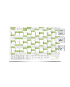 Wandkalender/Jahreskalender 2021, DIN A2 59,4 x 42,0 cm mit Ferien gerollt grün premium
