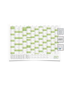Wandkalender/Jahreskalender 2021, DIN A3 42,0 x 29,7 cm mit Ferien gerollt grün premium
