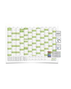 Wandkalender/Jahresplaner -- 2021 -- mit Ferien DIN B1 grün 100 x 70 cm 250g/m² abwischbar gerollt mit 4 Faber-Castel Marker