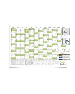 Wandkalender/Jahreskalender 2021, DIN A2 59,4 x 42,0 cm mit Ferienangaben abwischbar gerollt grün mit 4-er Faber-Castell Marker
