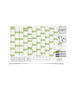 Wandkalender 2021, DIN A3 42,0 x 29,7 cm mit Ferienangaben und 4 non-permanent Marker abwischbar grün
