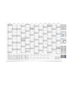 KALENDER/JAHRESPLANER - 2022 - DIN A1 84.0 X 59,4 CM 250G grau abwischbar mit 4-er Marker