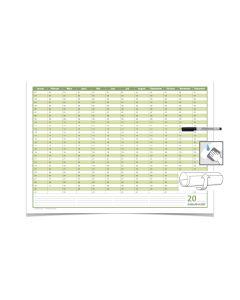 Mega Dauerkalender, super groß, DIN B1 , 250 gr. Premium Qualitätspapier, feucht abwischbar mit 1 Faber-Castell non-permanent Marker