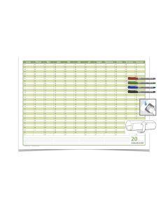 Mega Dauerkalender, super groß, DIN B1 , 250 gr. Premium Qualitätspapier, feucht abwischbar mit 4 Faber-Castell non-permanent Markern