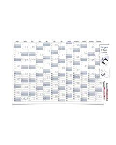 2 Gigatime Wandkalender/Jahresplaner 2021 Format: DIN A0 118,8 x 84,0 cm, blau/grau, feucht abwischbar mit 2 Markern in deutsche Sprache
