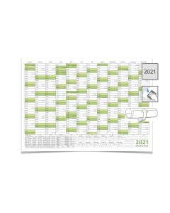 Wandkalender Jahreskalender 2021, DIN A3 42,0 x 29,7 cm mit Ferienangaben abwischbar gerollt grün