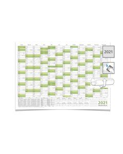 Wandkalender/Jahreskalender 2021, DIN A2 59,4 x 42,0 cm mit Ferienangaben abwischbar gerollt grün