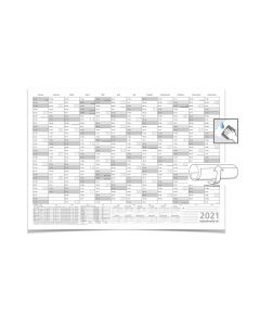 Wandkalender/Jahresplaner -- 2021 -- mit Ferien DIN B1 grau 100 x 70 cm 250g/m² abwischbar gerollt