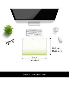 Eine Schreibtischunterlage im grün-weißen Design, Tischunterlage aus Papier zum Abreißen DIN A3 der lustige Wochenplaner aus dem Kalenderoutlet