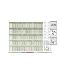 PERSONALPLANER URLAUBSPLANER 2021, feucht abwischbar 59,4 x 42,0 CM FÜR 8 MITARBEITER mit 1 Edding non-permanent Marker