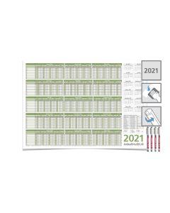 PERSONALPLANER URLAUBSPLANER 2021, feucht abwischbar 59,4 x 42,0 CM FÜR 8 MITARBEITER mit 4-EDDING non-permanent Marker