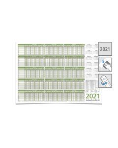 PERSONALPLANER URLAUBSPLANER 2021, feucht abwischbar 59,4 x 42,0 CM FÜR 8 MITARBEITER grün