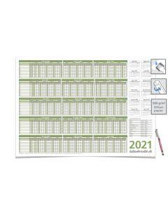 PIANIFICATORE PERSONALE VACANZE 2021, IDRATABILE 59,4 X 42,0 CM PER 8 PERSONALIZZATORI VERDE con un pennarello