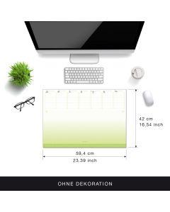 Eine Schreibtischunterlage im grün-weißen Design, Tischunterlage aus Papier zum Abreißen DIN A2 der lustige Wochenplaner aus dem Kalenderoutlet
