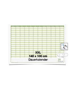 XXL Dauerkalender, super groß, DIN B0 140 x 100 cm, 250 gr. Premium Qualitätspapier, feucht abwischbar