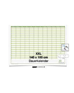 XXL Dauerkalender, super groß, DIN B0 140 x 100 cm, 250 g/m2  feucht abwischbar mit 1 Faber-Castell non-permanent Marker