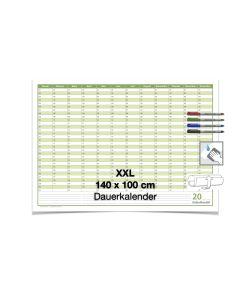 XXL Dauerkalender, super groß, DIN B0 140 x 100 cm, 250 gr. Premium Qualitätspapier, feucht abwischbar mit 4 Faber-Castell non-permanent Markern